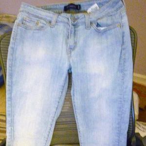 "Levi's 535 leggings 7M stonewash blue 8"" rise"